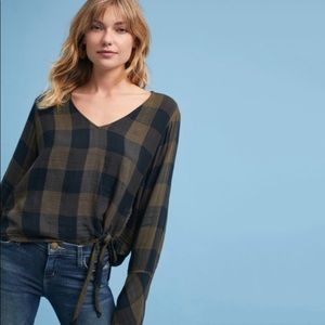 NWT Anthro Cloth & Stone Knotted Hi-Low Plaid Top